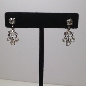 Vintage silver tone ,earrings with rhinestones